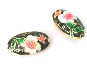 2pc 19x10 Flat Oval handmade Cloisonne Beads-OFF234