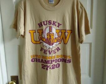 Vintage 1978 UW HUSKIES Rose Bowl DEADSTOCK T Shirt sz L