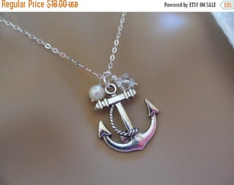 ON-SALE Reduded -   Birthstone and Anchor Pendant Necklace - Bridesmaid Gifts, Beach Wedding, Jewelry Box and Card WAS 21.99 Now 18.00