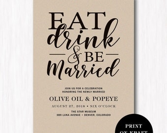 Eat Drink And Be Married Wedding Reception Invitation Card   Rustic Wedding  Invitation   Kraft Paper
