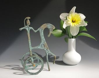 1950s Brass Etruscan Horse and Chariot Rider - Mid Century Modern - Frederick Weinberg Style Athena Minerva Horse Sculpture - Brass Horse