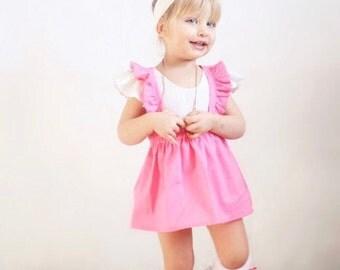 Pink Flutter Straps Skirt