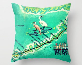 Florida Keys Pillow Cover, Mid Century Pillow, Mothers Day Gift, Mothers Day from Son Islamorada, Plantation Mid Century Cushion Cover, Aqua
