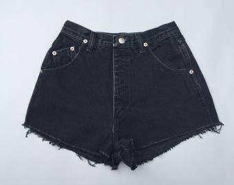 90s Denim Wrangler High Rise Cut Off Black Jean Shorts size 23/24 Waist