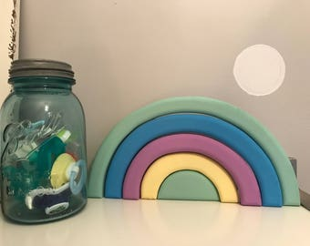 Wooden rainbow nursery decor