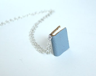 Teeny Gray Grey Leather Book Necklace Pendant - Long Silver Chain - Layer Accessory