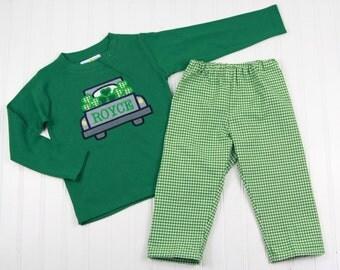 Toddler St Patricks Shirt - Monogrammed St Pats Shirt - Kids Green Shamrock Truck Outfit for Boys - Toddler T-Shirt Set for St Patrick's Day