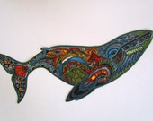 """Ocean Whale Orca X Large 11 1/2"""" Iron On Patch"""
