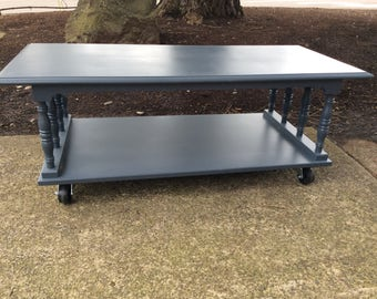 Grey Blue Refurbished 60u0027s Coffee Table With Casters LOCAL PICK UP Part 75