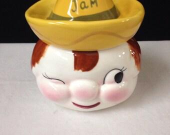 Jam Jar - Winking Boy - Sombrero - Napco Japan - K2596 - Vintage Kitchen