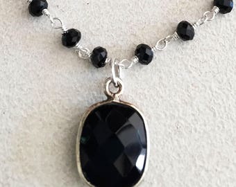 Black Onyx Silver Octagon Bezel Necklace with Black Chalcedony Rosary Chain and Silver Filled Rolo Chain.