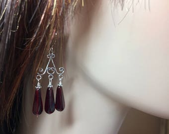 Red Chandelier Earrings Sterling Silver Earrings Silver Earrings Made in USA Drop Earrings Dangle Earrings