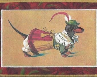 Dashing DACHSHUND Dog FABRIC Postcard, Quilted Postcard, Mini Art Quilt, Handmade Postcard