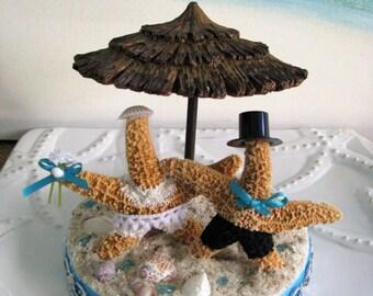 Starfish Wedding Cake Topper~Tiki Umbrella Beach Wedding Cake Topper~Beach Wedding Cake Topper