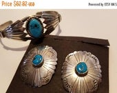 SPRING SALE Beautiful Mike Platero sterling and turquoise earrings with a matching PP silver turquoise bracelet