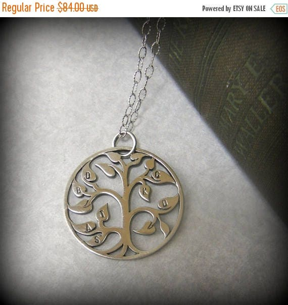 SALE Necklace for Grandma Personalized Hand Stamped Sterling Tree of Life Necklace Gift Mom Grandma Sterling Personalized Initials, Necklace