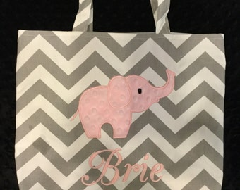 Grey Chevron and Pink Elephant Tote