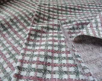 Vintage double knit polyester fabric small print plaid 68 inches wide BTY