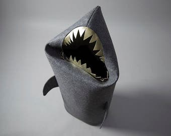 SHARK, Felt laundry basket for bathroom or children's room as a basket for toys, anthracie, gold teeth, Uczarczyk, Gift ideas,