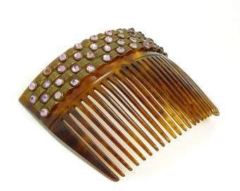 Art Deco Tortoise Shell Celluloid & Amethyst Rhinestone Hair Comb