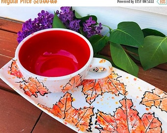 SALE-- Autumn Leaf Luncheon Set, lunch plate set, snack plate, cup and plate set, ceramic soup mug set, mother's day gift