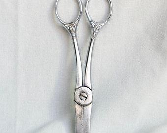 Vintage Italian scissors…silver plate scissors...kitchen scissors...Corona 23...made in Italy...shabby chic.