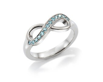 blue Diamond infinity ring, white gold, unique engagement ring diamond infinity, anniversary band, engagement ring, light blue wedding ring