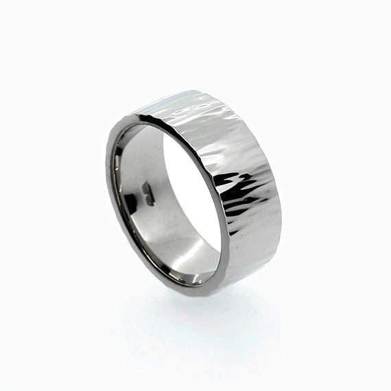 Roche Wedding Band In Palladium Hammered Ring Men's