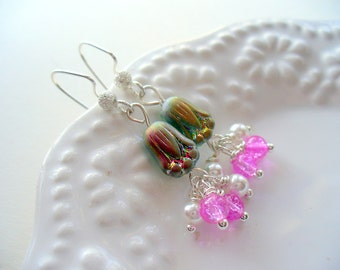 Long Dangle Earrings, Green, Pink and Pearl Earring, Sterling Silver Jewelry, Womens Jewelry, Silver Earring, Gift For Her, Valentine's Day