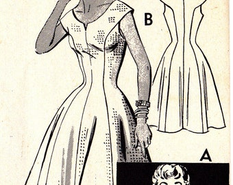 """FF 50s Misses Flare Princess Style Dress, Button Front Bolero Jacket Vintage Sewing Pattern [Mail Order 2079] Size 14, Bust 32"""", UNCUT"""