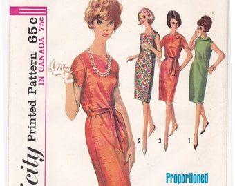"""FF 1960s One Piece Straight Dress Round Neckline Roll Collar Proportioned Vintage Sewing Pattern [Simplicity 5794] Size 14, Bust 34"""", UNCUT"""