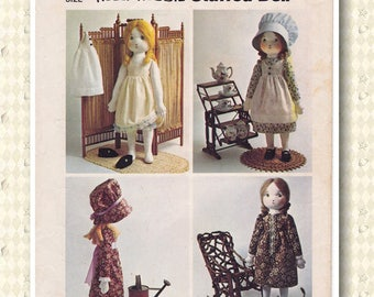 1973 Holly Hobbie Stuffed Doll and Her Wardrobe Vintage 70s Sewing Pattern [Simplicity 6006] Cut