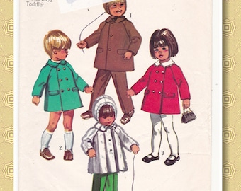 "70s Simplicity 9042 Size 3 Girl's Double Breasted Coat or Jacket Vintage Sewing Pattern, Breast 22"", Complete Partially Cut"