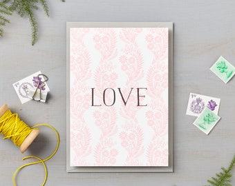 Pink Floral Pattern Love Card