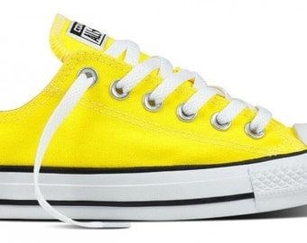 Custom Converse Fresh Yellow Lemon Bright Canvas Low Top Wedding w/ Swarovski Crystal Bling Rhinestones Trainers Chuck Taylor All Star Shoes
