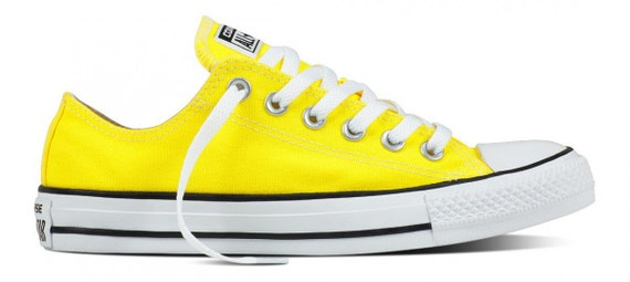 Custom Converse Fresh Yellow Lemon Bright Canvas Low Top Wedding w/ Swarovski Crystal Bling Rhinestones Trainers Chuck Taylor All Star Shoes
