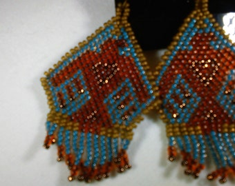 "Thunderbird Earrings, Brick Stitch Fringe Earrings, 2.25"" Long, Phoenix Earrings"