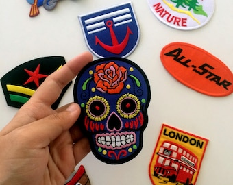 Skull iron on, patches, iron on patches, denim jacket, jean jacket, patches, embroidered patche
