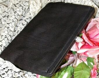 ON SALE Vintage 1950s  Saks Fifth Avenue Black Fabric Rhinestone Clasp Evening Clutch Purse