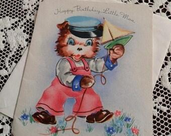 ON SALE Vintage Happy Birthday Little Man Greetings Embossed Card & Envelope Unused 1940s 1950s Cute Little Bear in Dungarees Cap Sailing Bo