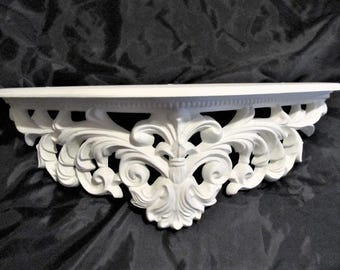 Shabby Chic All White Ornate WALL SHELF/Bed Crown, Large Shelf, Hand Painted, Cottage Chic Decor, Romantic Home Decor. Victorian Decor