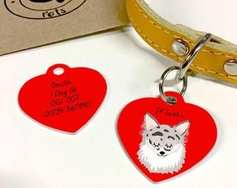 Chihuahua Personalised HEART Dog Tag - Chihuahua Name Tag - Chihuhua Collar Charm