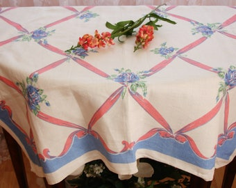 """Table cover, Table topper, French Country, Cottage chic decor, 33.5""""  Square table cover, linen, Made in France, Vintage French country"""