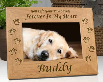 Dog Memorial Frame - Personalized With Name - You Left Your Paw Prints Forever In My Heart -or - Forever In Our Hearts - Free Sympathy Card