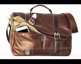 handcrafted leather messenger bag - 010051