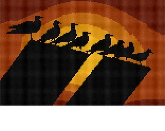 Needlepoint Kit or Canvas: Seagulls Perch Silhouette