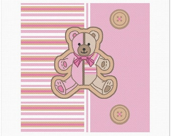 Needlepoint Kit or Canvas: Striped Teddy Pink