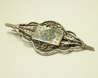Vintage/ estate, 1940s / 50s Iraqi / Middle Eastern, 800 silver filigree and black niello brooch / pin - jewelry jewellery