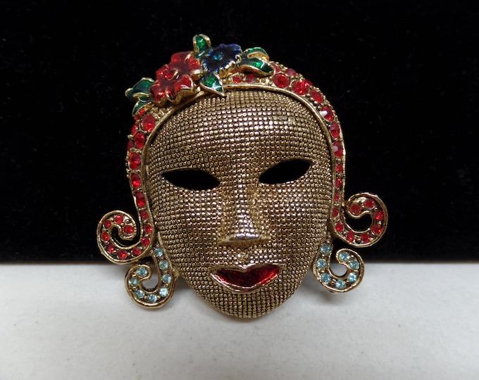 Fabulous Vintage Enamel & Crystal Mesh Mask Brooch!