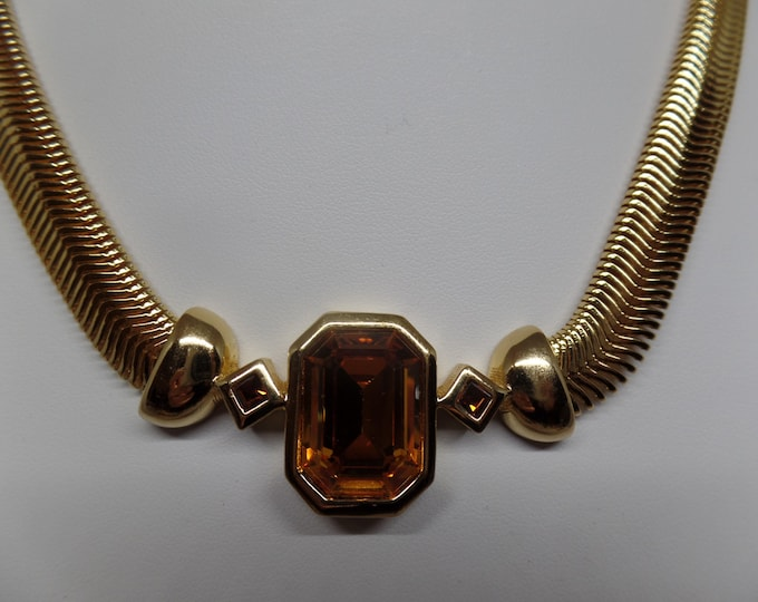 CHRISTIAN DIOR Signed Vintage Citrine Crystal Necklace